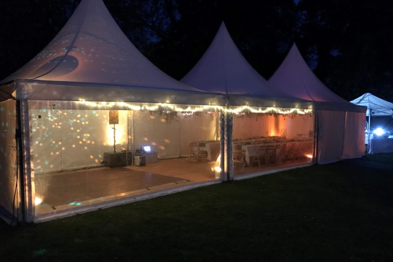 15m x 5m Triple peaked pagoda - fairy lights